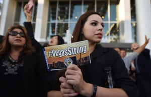 A woman at a vigil outside Las Vegas City Hall