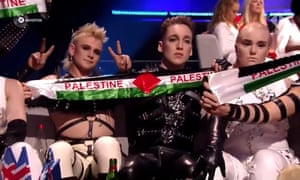 Hatari hold up Palestinian flags at Eurovision