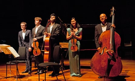 Benjamin Grosvenor, Timothy Ridout, Kian Soltani, Hyeyoon Park and Leon Bosch at the Queen Elizabeth Hall