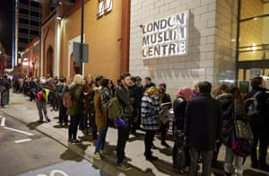 People queueing to get into a Momentum meeting at the London Muslim Centre