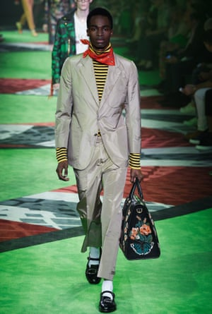 A model on the catwalk for Gucci.