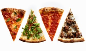 Pizza slices with different toppings