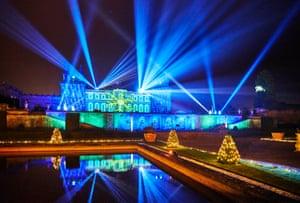 Blenheim Palace light show, at night, Christmas 2019. Oxford, UK.