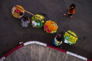 Street market scene taken from above, on a bridge, in Yangon, Myanmar.