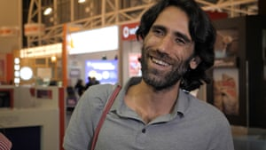 Behrouz Boochani arrives in New Zealand at Auckland airport on Thursday evening.