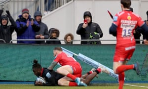 Rotimi Segun scores the second Saracens try in their convincing win over Sale.