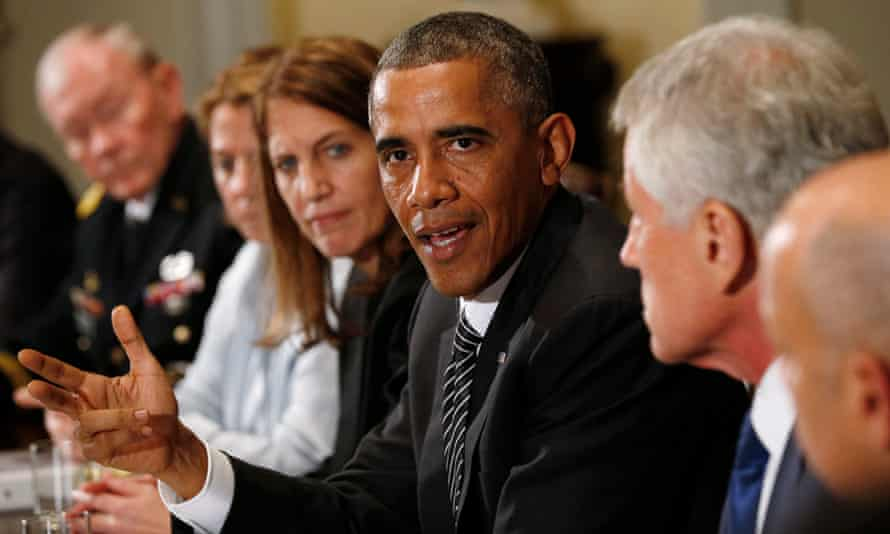 Barack Obama chairs a 2014 meeting to coordinate the US government's ebola response.