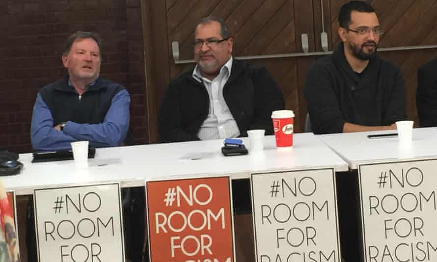 Criminal lawyer and anti-terror law expert Rob Stary, Ghaith Krayem, president of the Islamic Council of Victoria and author Yassir Morsi, at an anti-Islamophobia forum in Melbourne on Sunday.