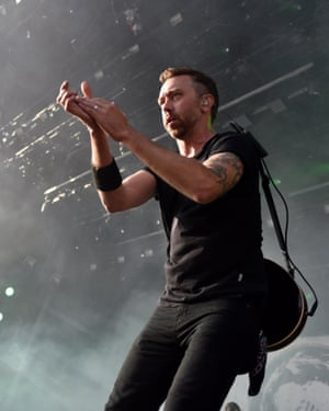 Rise Against's Tim McIlrath performs at Germany's Rock am Ring festival, 3 June 2018.