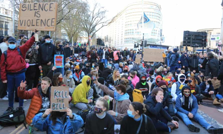 A protest against the police, crime, sentencing and courts bill in Bristol in March.