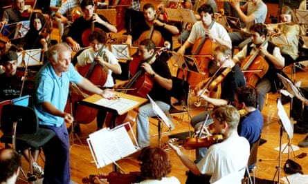 Daniel Barenboim conducts the West Eastern Divan Orchestra, rehearsing ahead of their Proms debut in 2003.