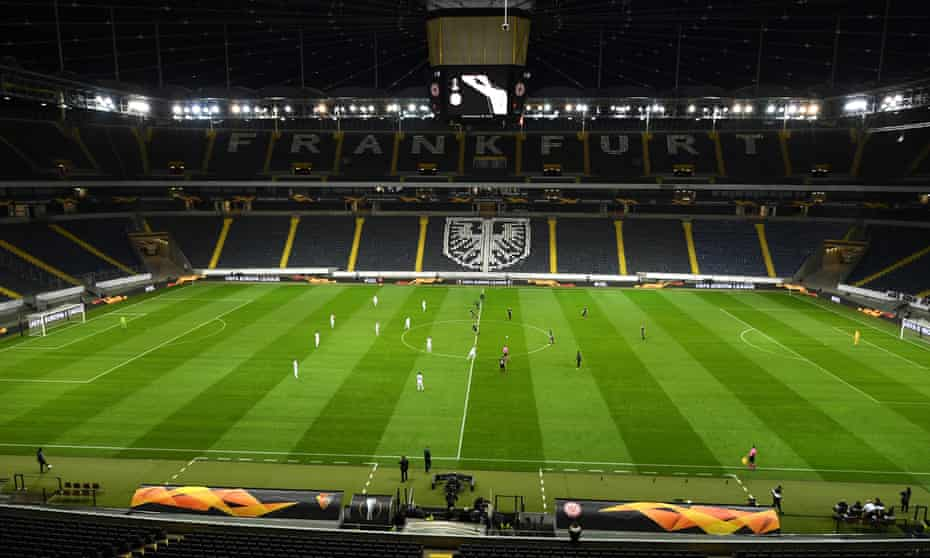 The Europa League game between Eintracht Frankfurt and Basel behind closed doors.