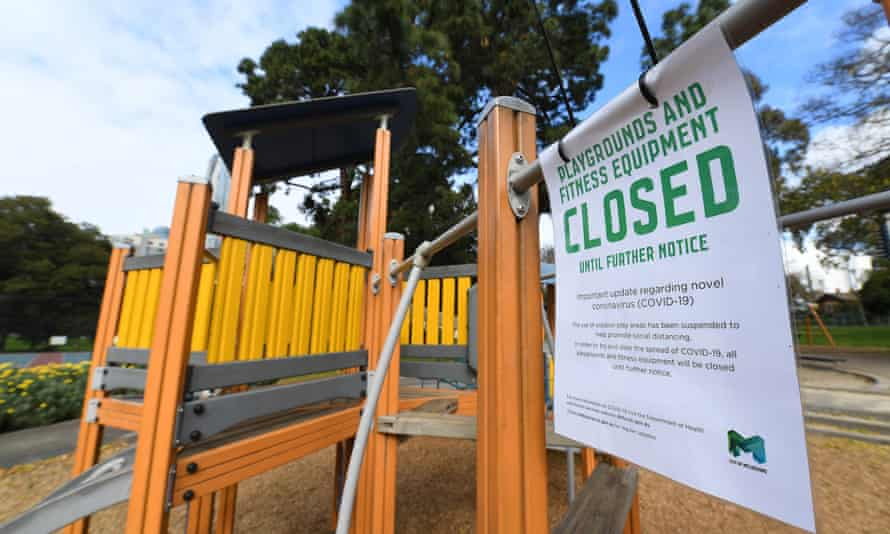 A closed playground in Flagstaff Gardens in Melbourne on Tuesday.
