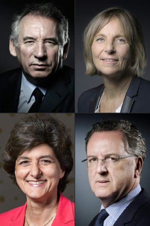 Clockwise from top left: François Bayrou, Marielle de Sarnez, Richard Ferrand and Sylvie Goulard.