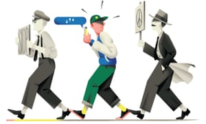 Illustration of three men  walking in a line, one holding a stop sign,  one holding an anti-nuclear placard