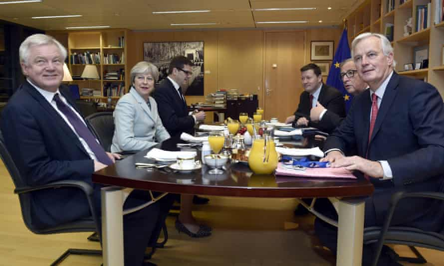 Then Brexit secretary David Davis, Theresa May, Jean-Claude Juncker and Michel Barnier meet at the European commission in Brussels, 8 December 2017.