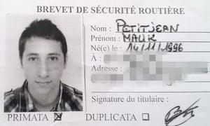 Abdel Malik Nabil Petitjean's identity card