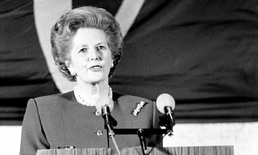 Margaret Thatcher delivers a speech to an international audience at the College of Europe in Bruges in 1988.