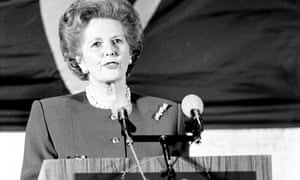Prime Minister Margaret Thatcher giving her speech to an international audience at the College of Europe in Bruges, 21 September 1988