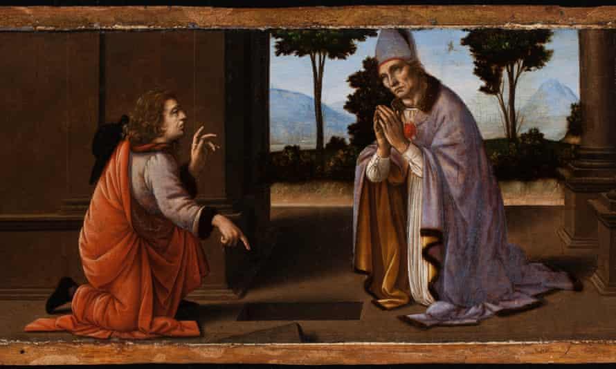 A Miracle of Saint Donatus of Arezzo, circa 1475–85, now attributed to Leonardo da Vinci and Lorenzo di Credi.