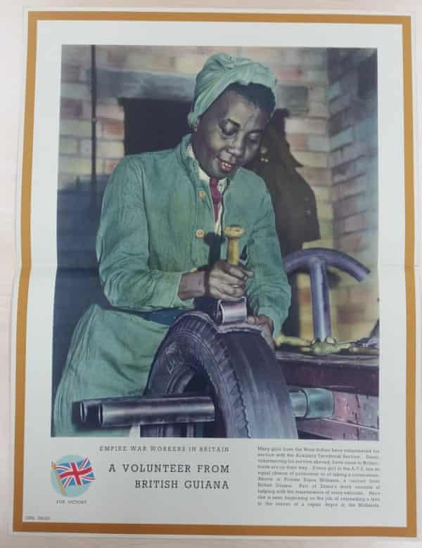 The exhibition displays archive objects including this piece celebrating this 'Empire war worker in Britain'
