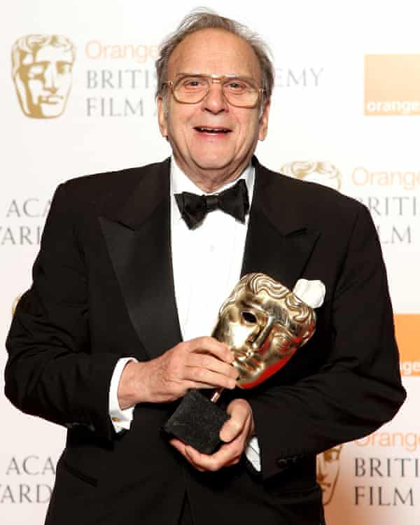 Sir Ronald Harwood with his Bafta for The Diving Bell and the Butterfly in 2008.