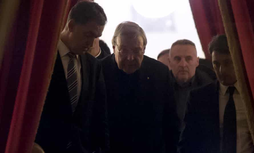 Cardinal George Pell in the hall of the Quirinale hotel in Rome after he testified via videolink for four hours to the royal commission on institutional responses to child sex abuse.