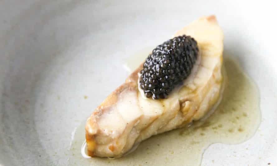 Exmoor caviar served on sturgeon at Carters of Moseley, Birmingham.