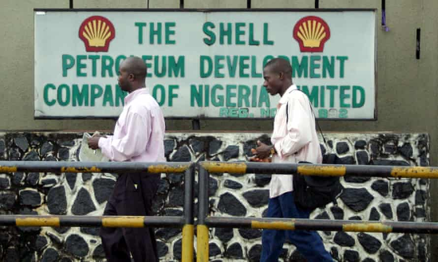 A Shell sign in Port Harcourt, in the Niger delta region
