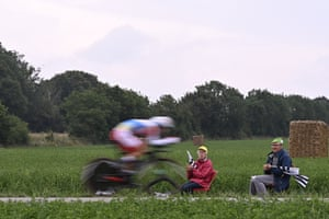 Stage 5 A time trialist passes onlookers on the 27 km course between Change and Laval