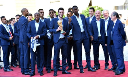 French football team in Paris on 16 July. Of the 23 players on the team, 16 come from families that immigrated to France.