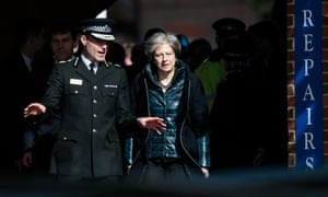 Theresa May with Wiltshire police chief constable Kier Pritchard in Salisbury, 15 March.