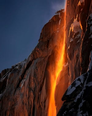 Sunlight hits the Horsetail Fall.