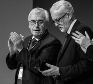 Jeremy Corbyn with shadow chancellor John McDonnell, making an impromptu speech following the news that the supreme court had ruled Boris Johnson's suspension of parliament unlawful