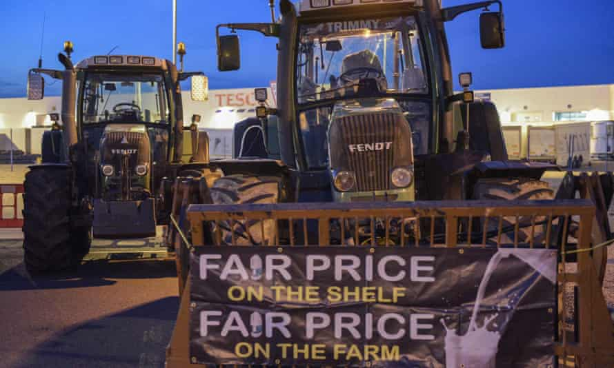 Dairy farmers block a Tesco distribution depot in Avonmouth last month