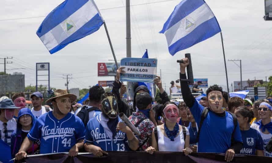 A demonstration in Managua, Nicaragua. 'Our struggle is to eliminate this regime.'