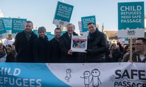 Lord Dubs attends a rally in Parliament Square organised by Safe Passage