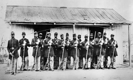 Black troops in Virginia circa 1861 during the American civil war