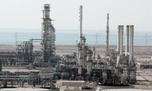 The Ras Tanura oil production plant in Saudi Arabia's eastern province.