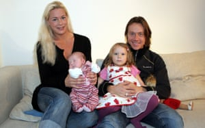 Malena Ernman and Svante Thunberg with their daughters, newborn Beata and Greta aged three, 2005