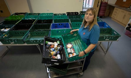 Claire Bowerman at the Salvation Army food bank in Preston, where supplies are running very low.