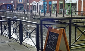 'Open for business' says a sign in the Maltings, near the spot where Sergei Skripal and his daughter Yulia were found poisoned.
