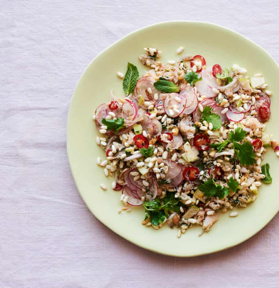 Ravinder Bhogal's Indian crab, apple and puffed rice salad.