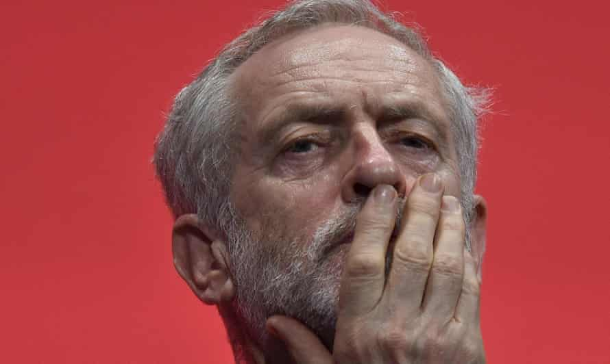 Jeremy Corbyn, listening at the close of the Labour Party conference at Brighton