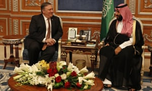 US secretary of state Mike Pompeo and Crown Prince Mohammed bin Salman in Riyadh on Tuesday.