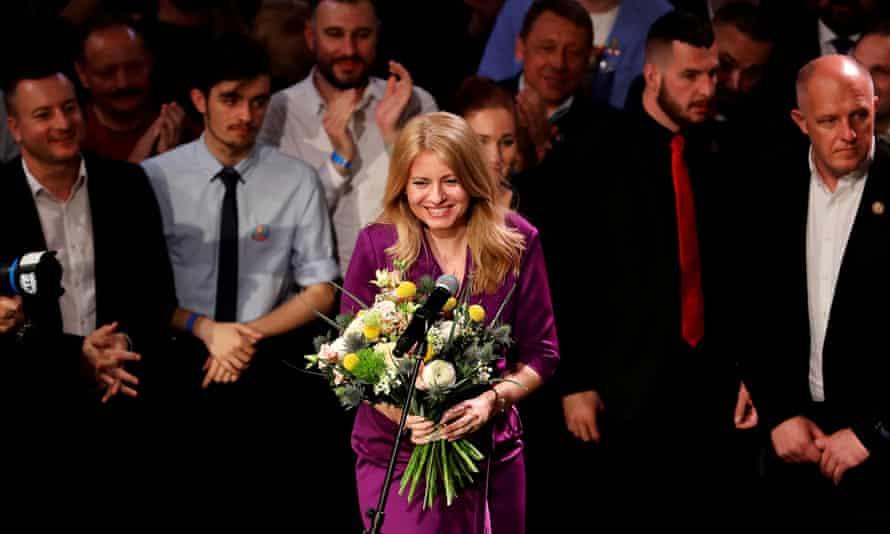Zuzana Čaputová holds a bouquet