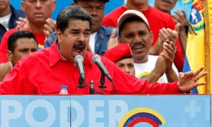 Venezuela's President Nicolas Maduro delivers a speech during the closing campaign ceremony for the forthcoming election .