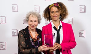 Joint Booker winners Margaret Atwood and Bernardine Evaristo on the evening of the prize announcement on 14 October.