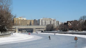 View of frozen canal in Ottawa