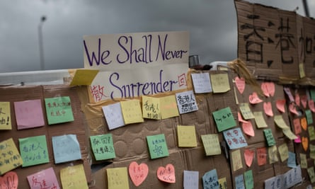 Notes left by Hong Kong protesters